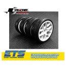 Ride 1/10 Slick Tires Precut 24mm Pre-glued with 10 Spoke Wheel White, 4pcs.#ETS